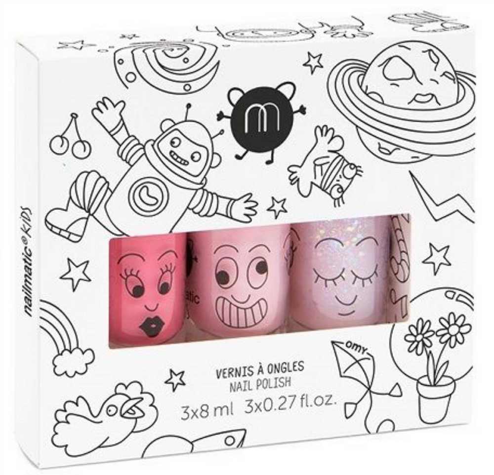 nailmatic® kids - water based nail polish 3 Pack - COSMOS (Pink/Powder Pink/Powder Pink Glitter)